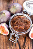 Fresh made Fig Jam. (detailed close-up shot) with some fresh fruits royalty free stock photography