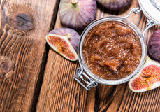 Fresh made Fig Jam. (detailed close-up shot) with some fresh fruits Stock Photos