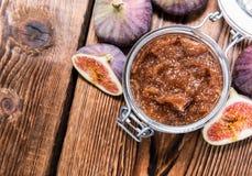 Fresh made Fig Jam. (detailed close-up shot) with some fresh fruits stock photos