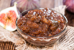 Fresh made Fig Jam. (detailed close-up shot) with some fresh fruits Royalty Free Stock Images