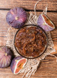 Fresh made Fig Jam. (detailed close-up shot) with some fresh fruits Stock Image