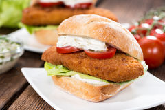 Fresh made Fishburger Royalty Free Stock Photo