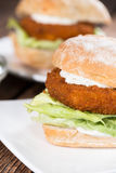 Fresh made Fishburger Royalty Free Stock Images