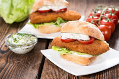 Fresh made Fishburger Stock Photography