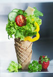 Fresh made green salad with ingredients in wafer Stock Photography