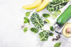 Fresh made green smoothie in bottle stock photos