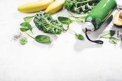 Fresh made green smoothie in bottle stock photo