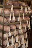 Fresh made ham in cold cut factory Royalty Free Stock Photography