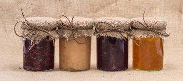 Fresh made Jam in jars Royalty Free Stock Images