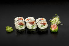 Fresh made Japanese sushi rolls with tuna Royalty Free Stock Photos