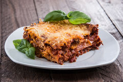 Fresh made Lasagne on a plate Royalty Free Stock Photography
