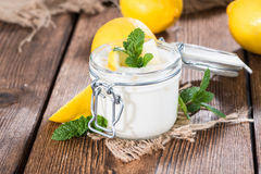 Fresh made Lemon Yoghurt Royalty Free Stock Photos