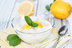Fresh made Lemon Yoghurt Royalty Free Stock Image