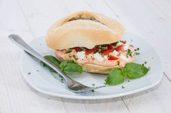 Fresh made Mozzarella Creme on roll Stock Image