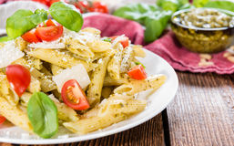 Fresh made Penne with Basil Pesto Royalty Free Stock Images