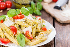 Fresh made Penne with Basil Pesto Royalty Free Stock Photo