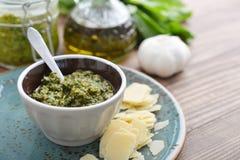 Fresh made Pesto Sauce Stock Photography