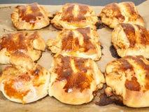 Fresh made plaited cinnamon buns Royalty Free Stock Photos