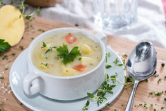 Fresh made Potatoe Soup Stock Photo