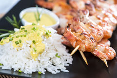 Fresh made Prawns on a spit Royalty Free Stock Photography