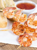 Fresh made Prawns on a spit Stock Images