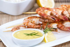 Fresh made Prawns on a spit Royalty Free Stock Photo