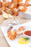 Fresh made Prawns on a spit Stock Photos