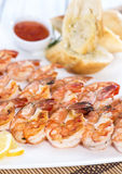 Fresh made Prawns on a spit Stock Photo