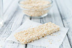 Fresh made Quinoa Bars. Some fresh made Quinoa Bars on vintage background (close-up shot Stock Images