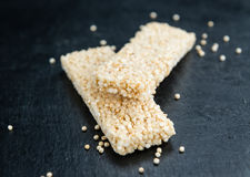 Fresh made Quinoa Bars. Some fresh made Quinoa Bars on vintage background close-up shot Stock Image