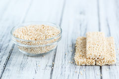 Fresh made Quinoa Bars. Some fresh made Quinoa Bars on vintage background (close-up shot Royalty Free Stock Image