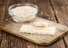 Fresh made Quinoa Bars. Some fresh made Quinoa Bars on vintage background (close-up shot Stock Photo