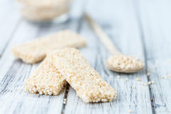 Fresh made Quinoa Bars. Some fresh made Quinoa Bars on vintage background (close-up shot Royalty Free Stock Photo