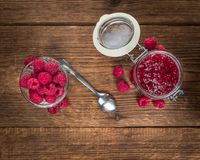 Fresh made Raspberry Jam. On a vintage background as detailed close-up shot Stock Image
