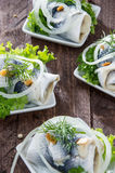 Fresh made Rollmop on a plate Stock Photos