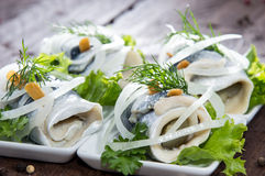 Fresh made Rollmop on a plate Stock Image
