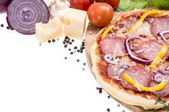 Fresh made Salami Pizza on white Stock Image