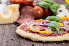 Fresh made Salami Pizza Royalty Free Stock Photography