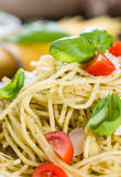 Fresh made Spaghetti (with Pesto) Stock Photo