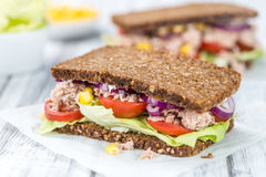 Fresh made Tuna sandwich with wholemeal bread (selective focus). Fresh made Tuna sandwich with wholemeal bread (selective focus; close-up shot Royalty Free Stock Image