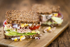 Fresh made Tuna sandwich with wholemeal bread selective focus Royalty Free Stock Image