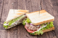 Fresh made Tuna Sandwiches on wood Royalty Free Stock Photography