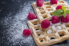 Fresh made Waffles with Raspberries Royalty Free Stock Image