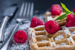 Fresh made Waffles with Raspberries Royalty Free Stock Photography