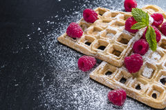 Fresh made Waffles with Raspberries Stock Photos