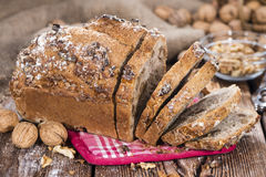 Fresh made Walnut Bread. (detailed close-up shot) on wooden background Stock Photography
