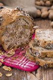 Fresh made Walnut Bread. (detailed close-up shot) on wooden background Stock Images