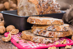 Fresh made Walnut Bread. (detailed close-up shot) on wooden background Royalty Free Stock Photography