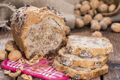 Fresh made Walnut Bread. (detailed close-up shot) on wooden background Royalty Free Stock Photos