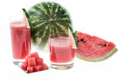 Fresh Watermelon Juice on white Stock Photo